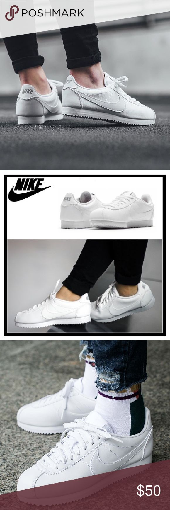 NIB Nike Cortez New All White Nike Cortez. Size 5 Youth, equivalent to a size 6.5 Women's. New in box without lid. Nike Shoes Sneakers
