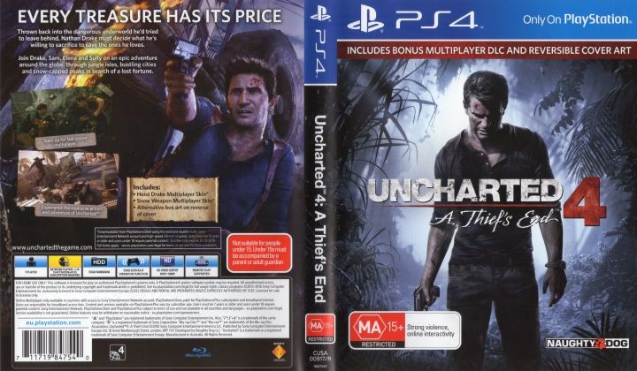 Uncharted 4 A Thief S End 2016 Pal Ps4 Cover Label Dvd Covers A Thief S End Cover