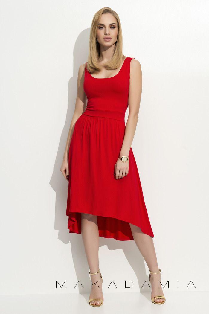 - Asymetryczna czerwona sukienka