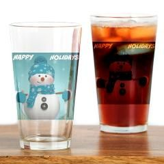 Blue Snowman Happy Holidays Drinking Glass