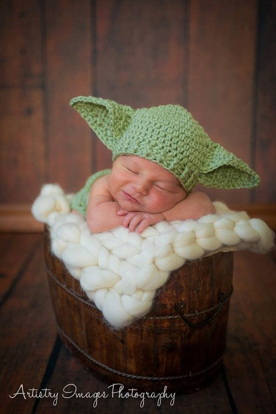 Yoda Hat & Diaper Cover SET Newborn 0 3m 6m by RockMeMamaDesigns, $64.95