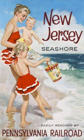 Cartel sobre las atractivas playas de New Jersey