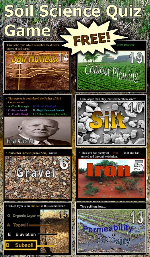 This is a FREE 150 slide Quiz Game about Soil Science, Erosion, Particle Size, and Soil Conservation. Answers and game sheet are attached. -Enjoy