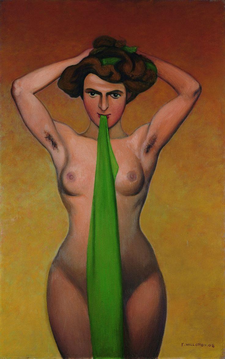 En 1908, on est dans une période où Vallotton réalise énormément de nus. A partir de croquis, comme on l'a vu pour les paysages. «On retrouve ainsi encore une stylisation et une simplification extrêmes. Le corps est souvent posé sur un fond factice, comme ici pour L'Automne. Pour élaborer aussi une recherche formelle au travers du corps féminin. La forme est sculpturale, la pause audacieuse.»
