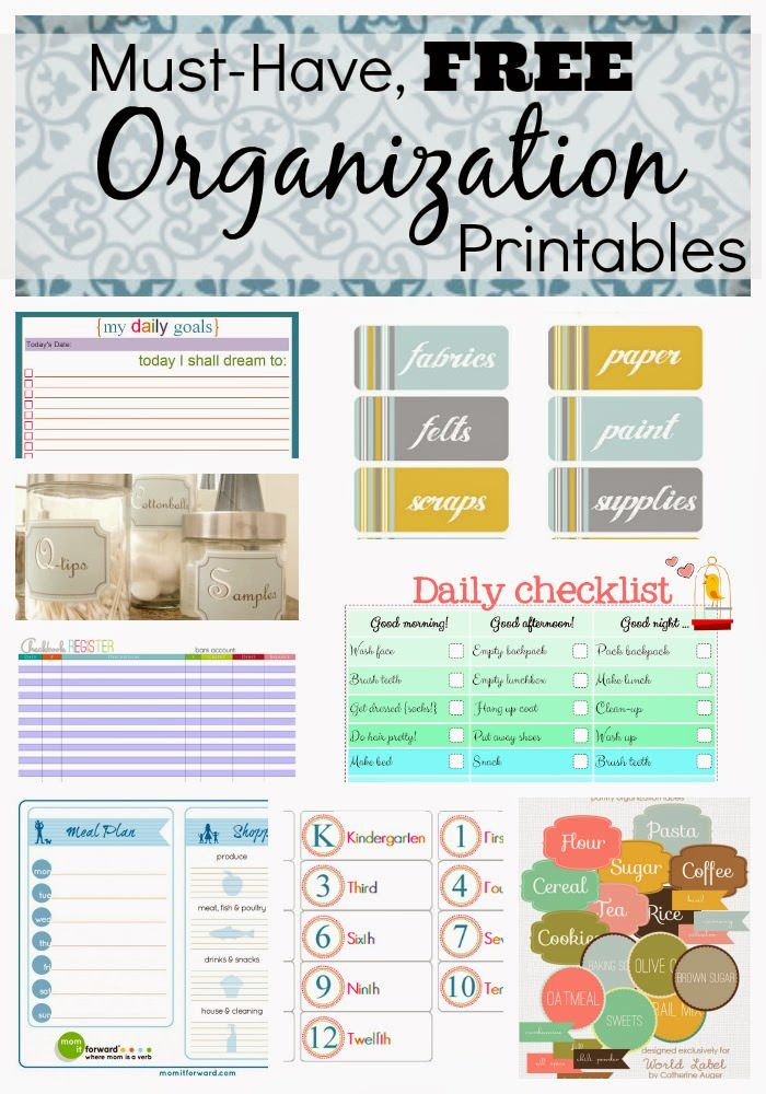 Must Have Free Organization Printables