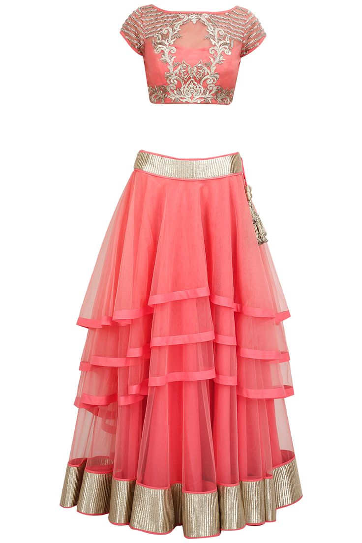 Candy pink embroidered multi layer lehenga set available only at Pernia's Pop-Up Shop.