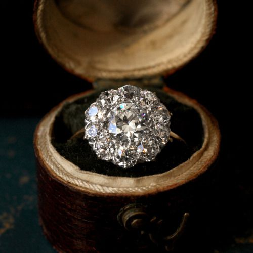 1900s Edwardian Diamond Cluster Ring. Whoa.