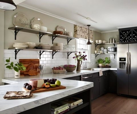 open shelves black cabinets