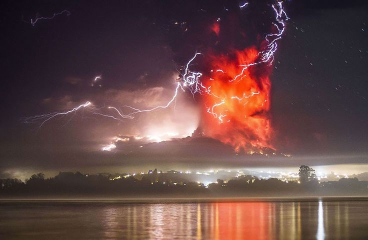 Massive cloud of fire wrapped in lightning