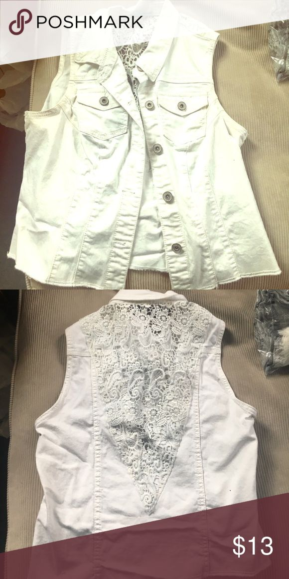 "White denim vest Just when you thought it was gone. It came back. This is not what the buyer expected. But it is true denim and white. I've washed it again since it was returned. Back is all white ""tough"" lace. This is from Maurice's. Sizes run the same as Torrid. Her loss is your gain. Now back at a reduced price. Maurices Jackets & Coats Vests"