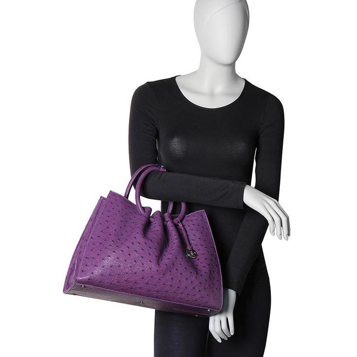 genuine ostrich skin PITO handbag from Via La Moda