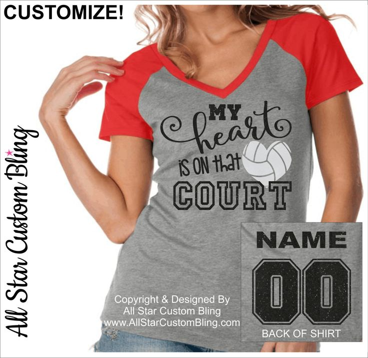 My Heart Is On That Field Volleyball Shirt With Name On Back, Volleyball Mom Bling Shirts, Custom Volleyball Shirt,Volleyball Mom Tee by AllStarCustomBling on Etsy