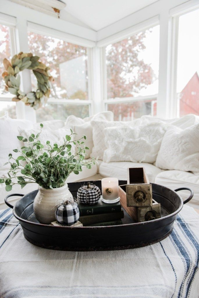 A Farmhouse Style Coffee Table In The Sunroom Coffee Table