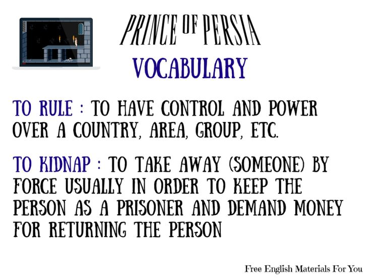 #VOCABULARY LIST - episode 5 - #English4Gamers - Free English Materials For You - #PrinceOfPersia