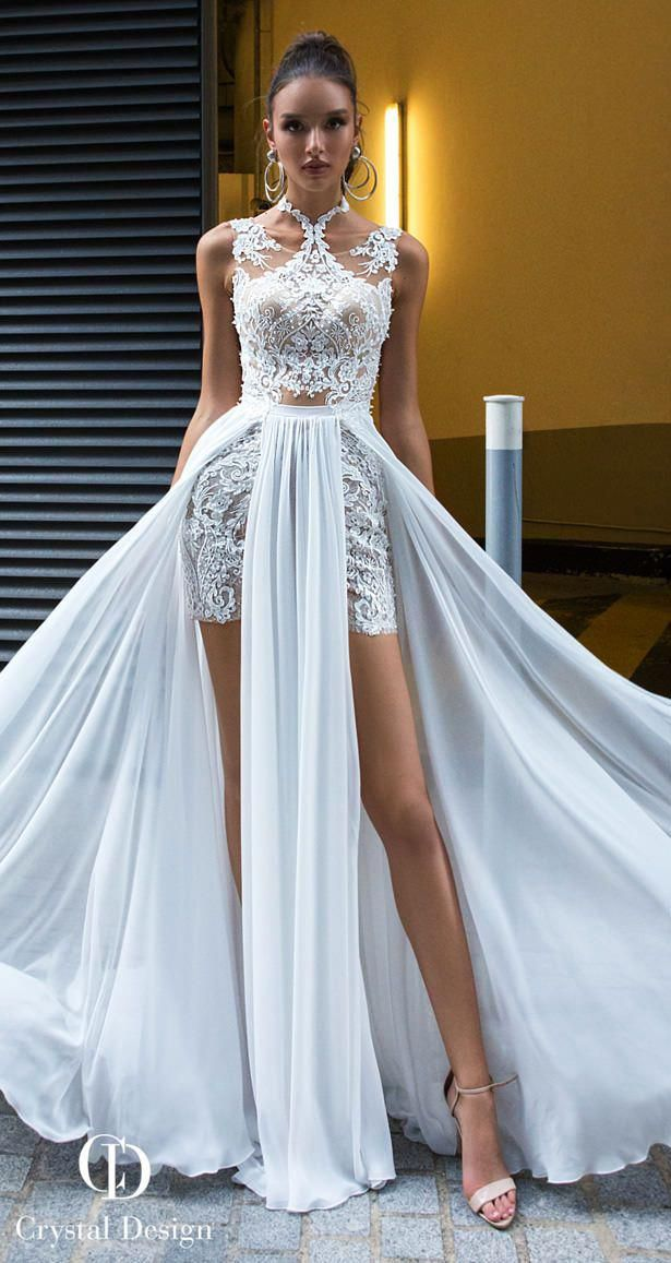 Crystal Designs Wedding Dresses 2019 Lace Beach Wedding Dress