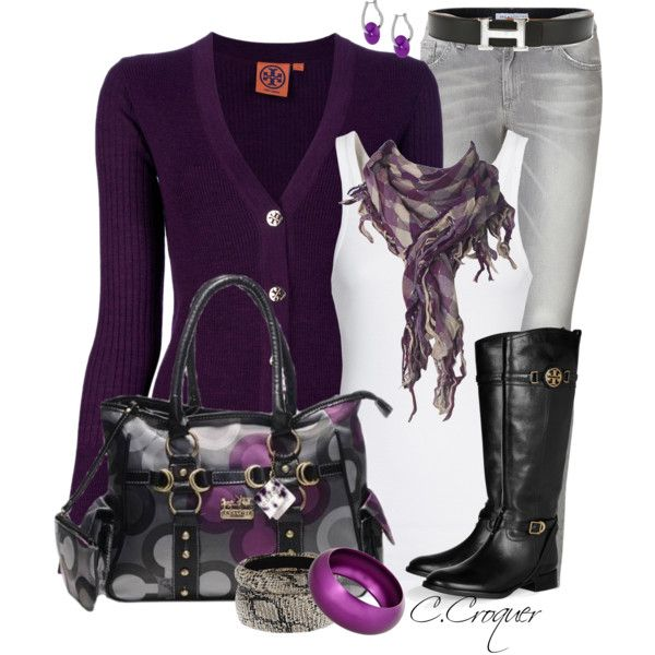 Purple Cardigan & Jewelry, created by ccroquer on Polyvore