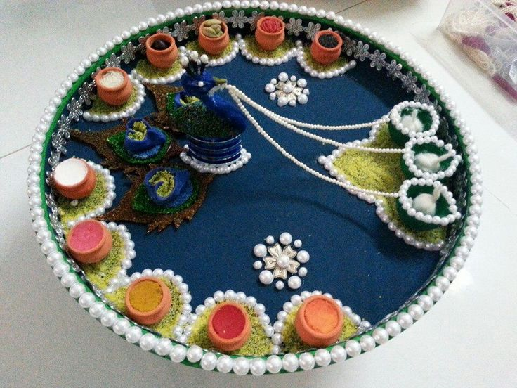 Aarti decoration diy crafts that i love pinterest for Aarti thali decoration ideas for ganpati