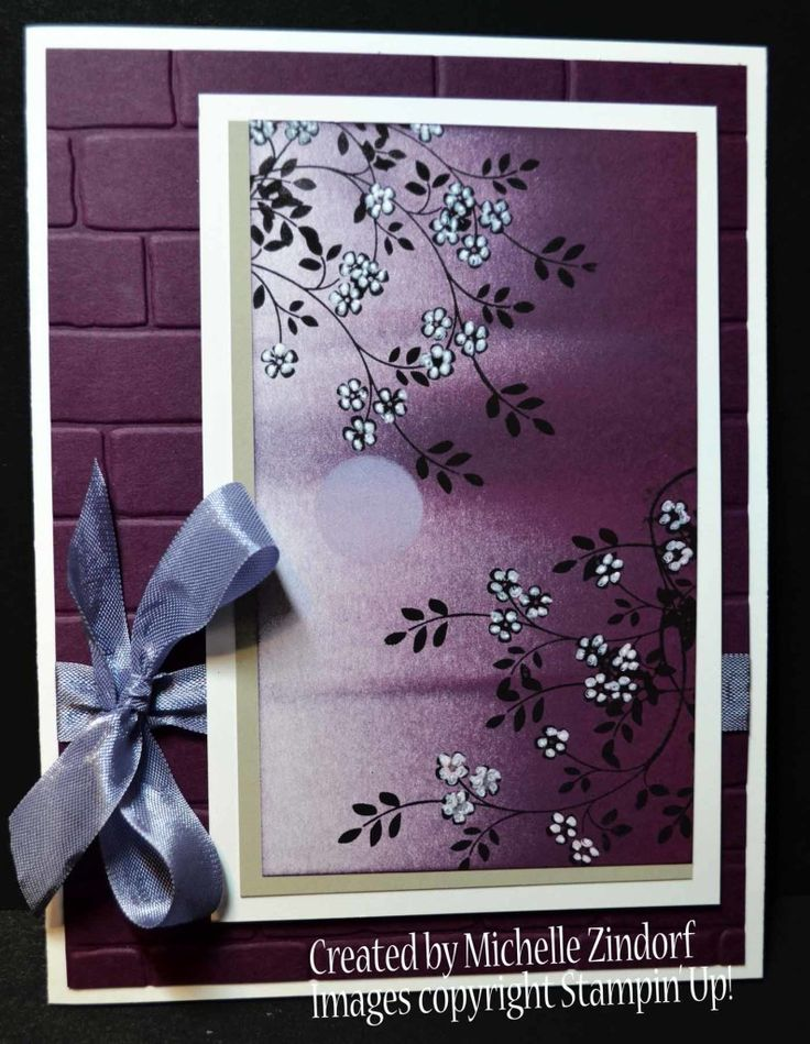 Purple Midnight Card created by Michelle Zindorf using Stampin' Up! Products - Brick Wall Embossing Folder, Thoughts & Prayers Stamp Set