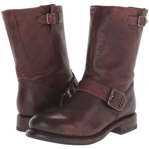 Frye Jenna Engineer Short Women's Boots, Brown ($230) ❤ liked on Polyvore featuring shoes, boots, brown, mid-calf boots, frye boots, brown ankle booties, leather boots, brown booties and buckle booties