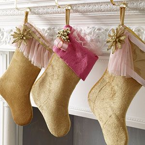 Victorian Christmas stockings.    Or burlap?
