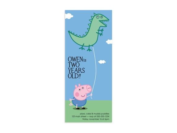 George Pig Peppa Pig Birthday Party Invitation by splinkdesign