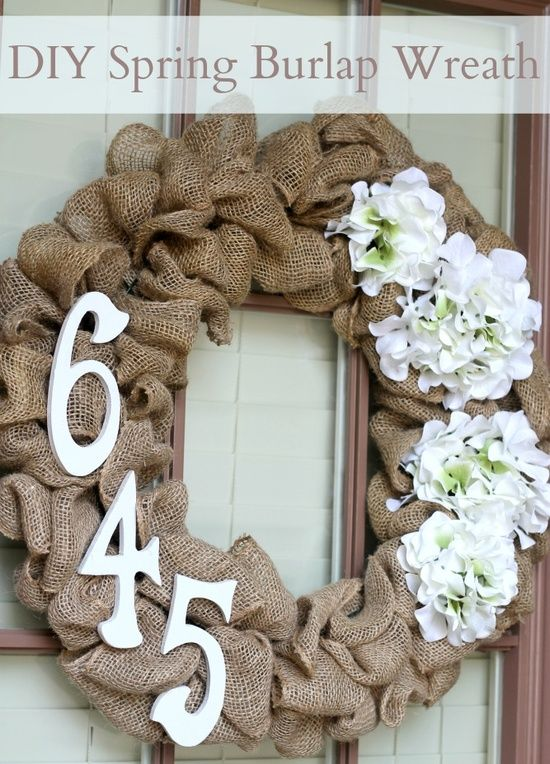 Like the idea of the address numbers on the burlap wreath. I could put the room number