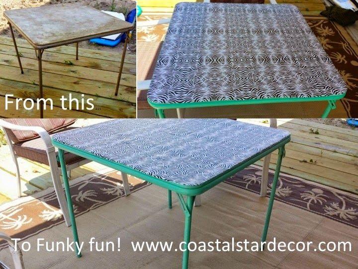Coastal Star Decor: Card Table Makeover