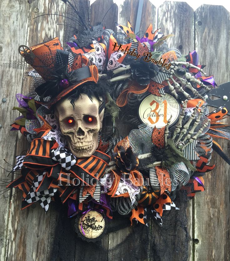 "26"" Mr. Bones Wreath You can find more beautiful wreaths at Holiday Baubles…"