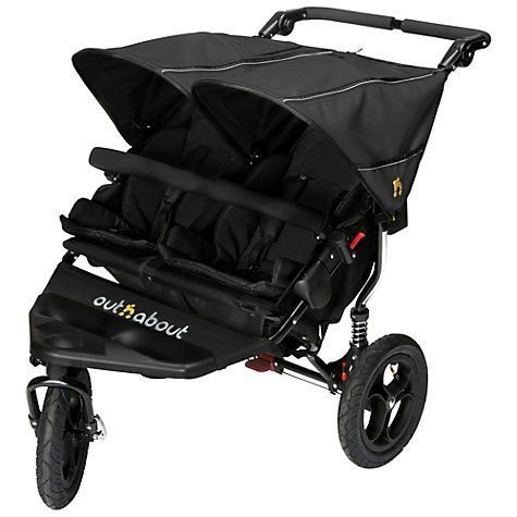 Out 'n' About Nipper Double 360 V4 Stroller (with Raincover) - Raven Black