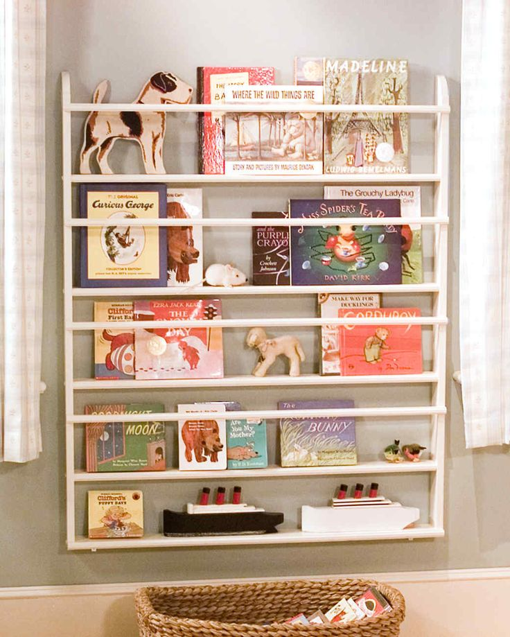 A ready-made plate rack can be easily transformed into a child's bookshelf, displaying both toys and children's books. You can also make your own shelves; just have all the wood cut to size at a lumberyard.Tools and MaterialsTape measurePlate rackAnchors and screwsCordless drillL-shape brackets1. Decide at what level you want the plate rack to hang. Measure from the top of the baseboard, making sure it's level, and mark the wall. Attach one mount to the top of each side of the pla...