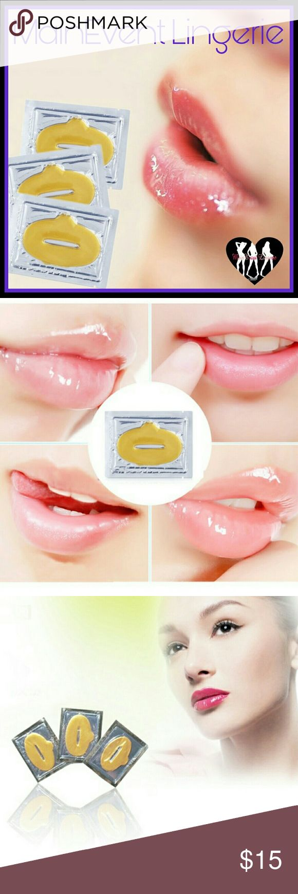 3 New Crystal Gold Gel Collagen Lip Mask Brand New!! New Crystal Gold Powder Gel Collagen Lip Mask.  3 Masks Sheet Patches.  Gold Collagen Crystal Lip Mask Lip Care Gel Mask Moisturizing Hydrating Repair Remove Lines Blemishes Fuller Lip Care. Makeup Lip Balm & Gloss
