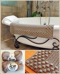 """Free crochet pattern - Bath Mat ~ it is an easy pattern but you get a great-looking bath mat ~ measures 24"""" x 36"""" ~ use cotton yarn & a """"J"""" hook ~ FREE CROCHET pattern"""