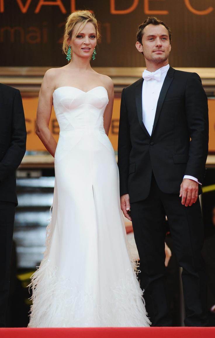 Love this dress and her earrings!  He looks absolutely dapper! #UmaThurman #JudeLaw: Umathurman Judelaw, Cannes Film Festival