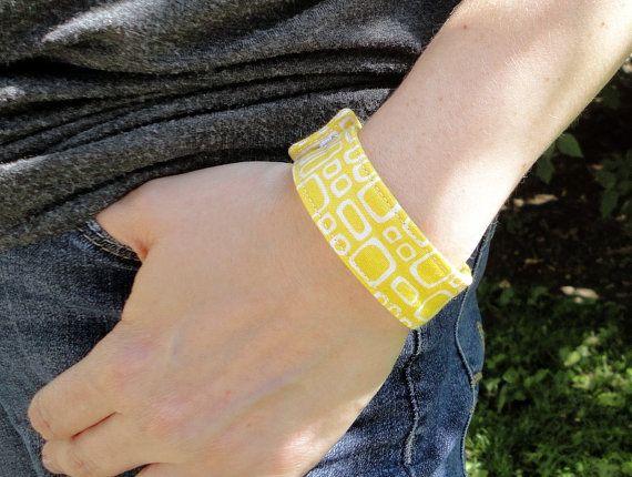 BitWrap Prints-Yellow and White Square Print-Fitbit Flex, Fitbit One, Fitbit Charge, Fitbit Charge HR, Fitbit Surge Band