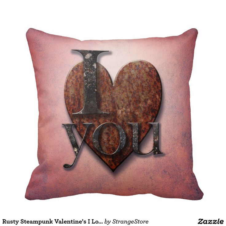 Rusty Steampunk Valentine's I Love You Pink Heart Pillow from #StrangeStore