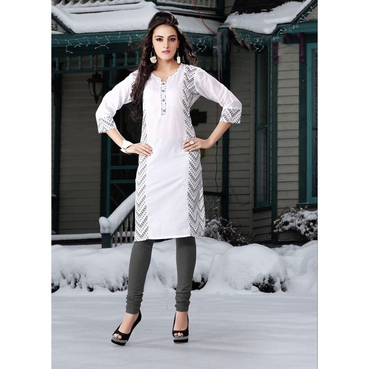 Attractive Off White Cotton #Wedding #Kurti