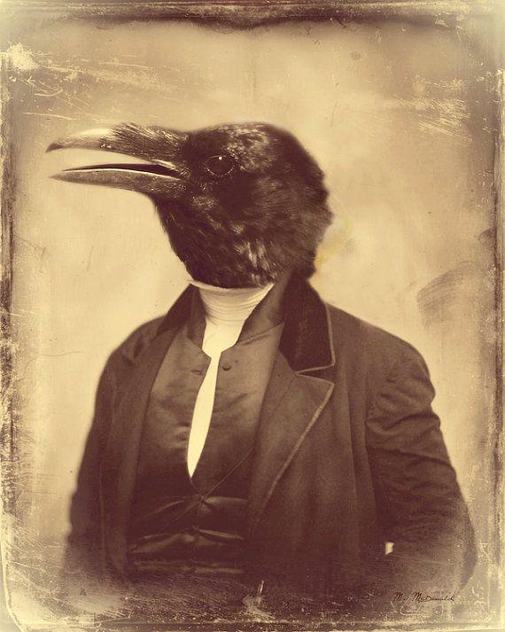 Anthropomorphic bird old photo mixed media