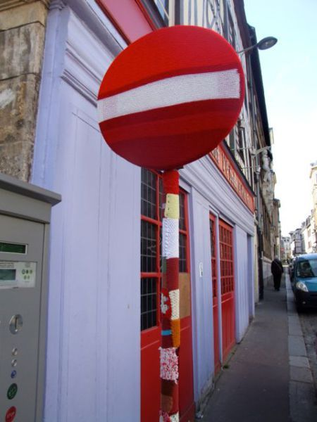 yarn bombing, sens interdit, Citémômes, Rouen