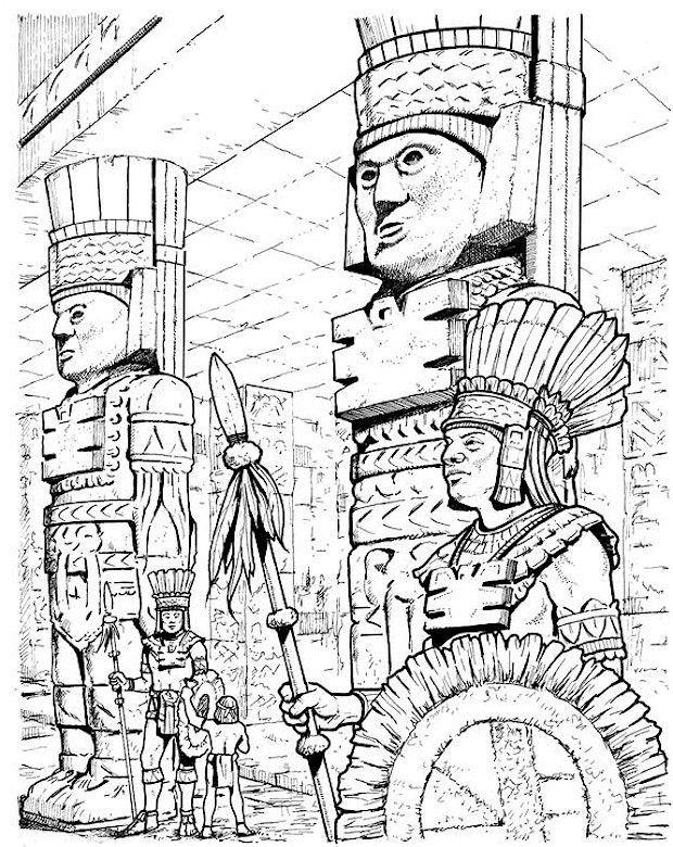 Les 7 meilleures images du tableau coloriage mayas azteques incas sur pinterest coloriage - Dessin azteque ...