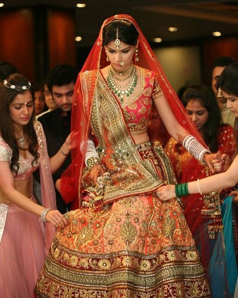my personal favourite :) peach, pink and red .... all in one ... love the draping style too :)