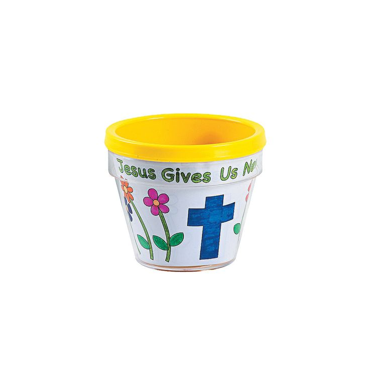 "Color Your Own ""Jesus Gives Us New Life"" Flowerpots - OrientalTrading.com"
