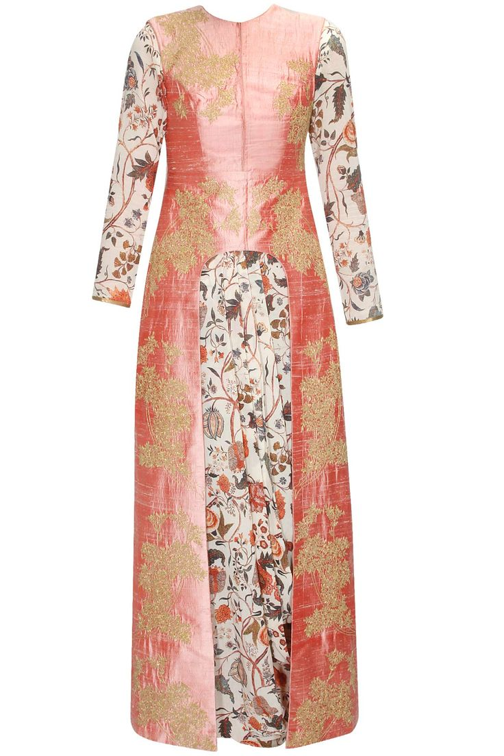 Off white and pink gold floral embroidered cowl gown and jacket set available only at Pernia's Pop Up Shop.