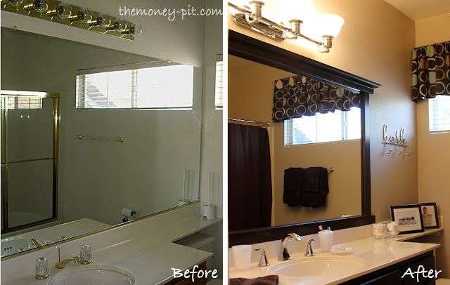 Simple bathroom makeover without breaking the bank. Change the lighting fixture and faucets, paint the walls and cabinets, and add framing to the mirror.