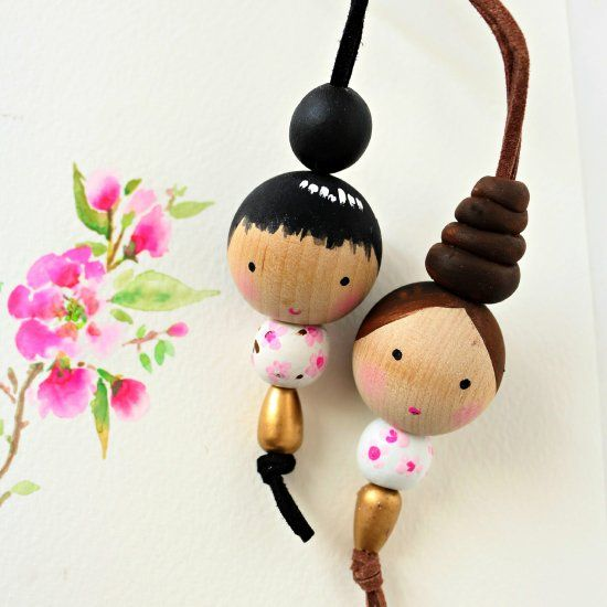 Adorable Wooden Bead Doll Necklace