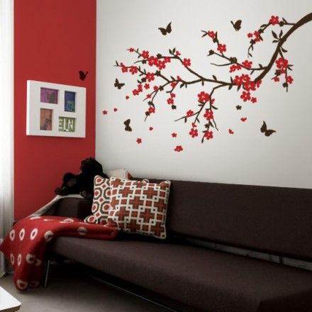 Muursticker bloesemtak met vlinders - Love For Deco