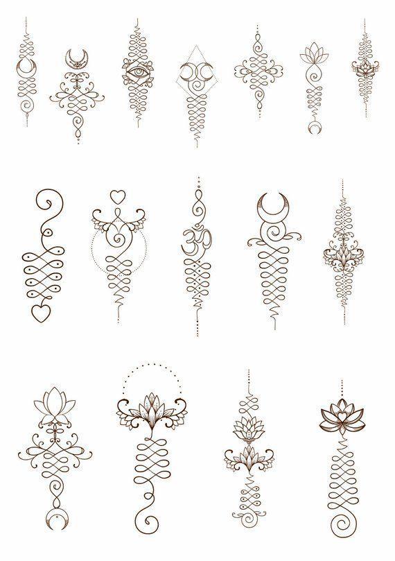 Unalome Temporäre Tattoos. 16 verschiedene Designs. Lotusblume Om-Symbol dritte… #Tätowierung