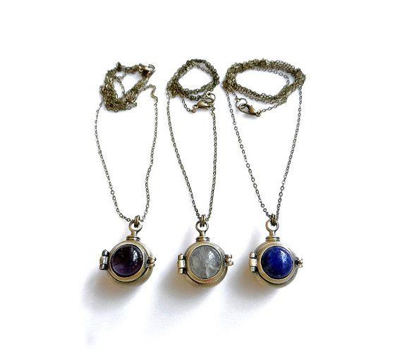 Gemstone Locket Necklace with FREE Personalized Bracelet, Steampunk Keepsake Necklace with Initial Bracelet
