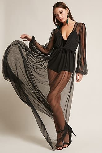 9cb428693f9 Kikiriki Sheer Mesh Maxi Dress