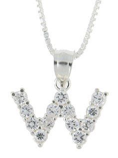 Sterling Silver Cubic Zirconia Initial Letter W Alphabet Pendant, 1/2 inch long Sabrina Silver. $29.95