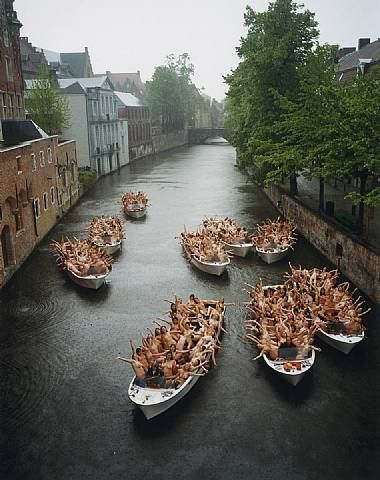 Spencer Tunick in Brugges, Belgium. An absolute phenomonal photographer. I was blessed enough to be in one of his smaller shoots in Nyack, NY